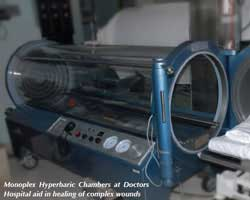 photo of hyperbaric chamber at doctors hospital